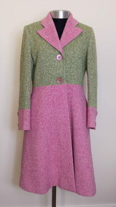 Pink and green tweed winter coat