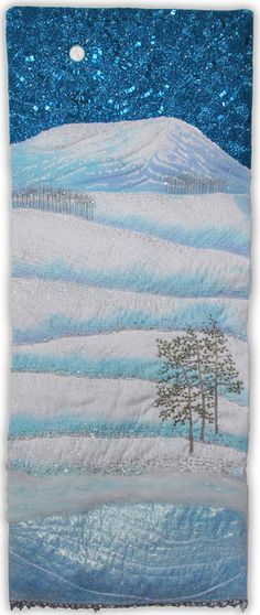 Moonlit Morning art quilt by Melody Money. Quilt Art, Quilting Projects, Quilting Designs, Landscape Art Quilts, Winter Quilts, Textiles, Quilted Wall Hangings, Small Quilts, Winter Scenes