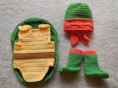 Ninja Turtle Costume: Hat/mask, Cocoon,Booties - for babies, infants, photo prop, Halloween