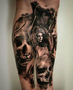 Tattoo Skull Black and white