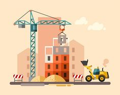 Construction site, building a house. on Behance