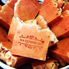 Handmade soap store in Hot Springs, Arkansas. Sweet Potato handcrafted soaps. Moisturizing, cleansing, and rapturous fall/winter scent. Bathhousesoap.com