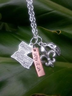 Hand Stamped NOLA Necklace with Fleur De Lis by MetallicKreations, $22.00