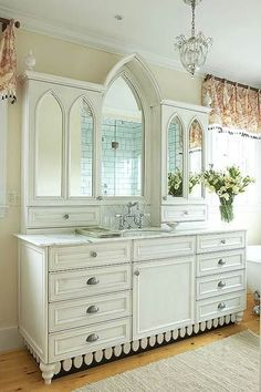"""Oh... I love this! Previous pinner wrote, """"Vintage vanity created a dresser & part of an old church altar.""""  Great way to re-purpose items."""
