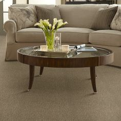 Very clean look. Carpet can accent any home decor, explore the many colors and styles of carpet today! Carpet High Style Loop - - Mellow Tan - Flooring by Shaw Shaw Flooring, Decor, Living Room Carpet, Patterned Carpet, Flooring, Carpet Trends, House Flooring, Grey Flooring, Coffee Table