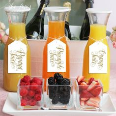 Brunch Ideas Discover Mimosa Bar Juice Drink Tags - Mimosa Bar Labels for Bubbly Champagne Bars at Bridal Shower Wedding Party - Blush Pink & Gold Glitter - Ava Blueberry Juice, Blueberry Lemonade, Strawberry Lemonade, Birthday Brunch, Easter Brunch, 40th Birthday, Brunch Con Champagne, Champagne Drinks, Champagne Label