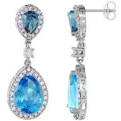 14K White Gold Natural Swiss Blue Topaz and London Blue Topaz Tear Drop Earrings White Sapphire and Diamond Accents, 1 3/8 inches long.