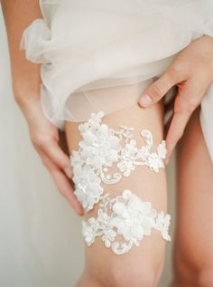 Ivory floral lace wedding garter set with 3D by HoneyPieBridal