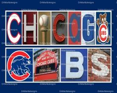 Chicago Cubs MLB Framed Alphabet Photo Art