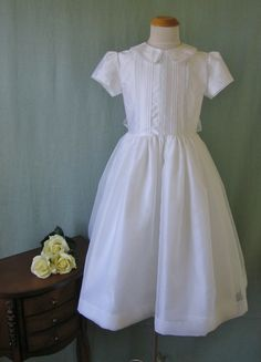 Silk First Communion Dress - Kathleen - Communion Heirlooms