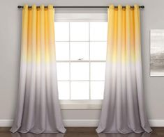 Ombre Curtains, Yellow Curtains, Grommet Curtains, Drapes Curtains, Curtain Panels, Window Panels, Modern Curtains, Blackout Curtains, Grey And Yellow Living Room