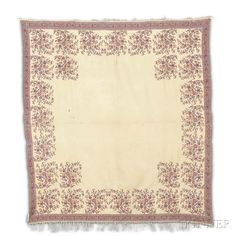 European Square Shawl, c. 1820, 5 ft. 1 in. x 4 ft. 9 in.     Provenance: The Arlene Cooper Collection.   Skinner Auctioneers Sale 2942T