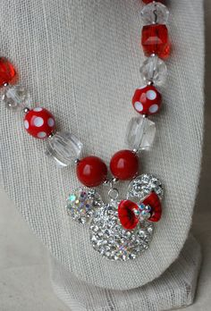 Sparkly Minnie Mouse Inspired Chunky Necklace by CravingCuteness