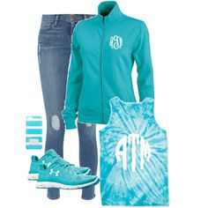 Monogrammed Tie Dye Tank from Marleylilly.com by marleylilly on Polyvore featuring Frame Denim, Under Armour and MICHAEL Michael Kors