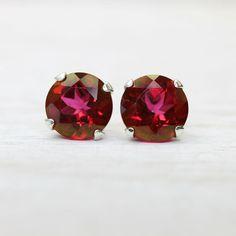 Hot Pink Mystic Topaz Earrings with Sterling Silver Posts, simple fuschia gemstone stud earrings on Etsy, $38.00