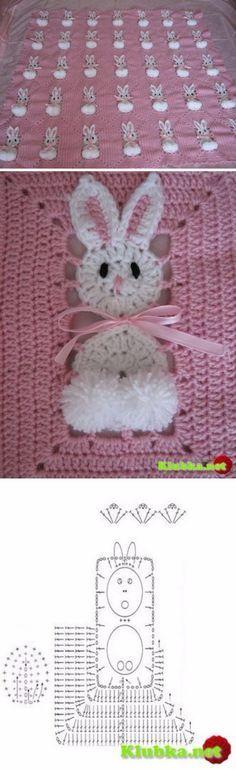 Cute crochet Bunny Baby Blanket afghan .