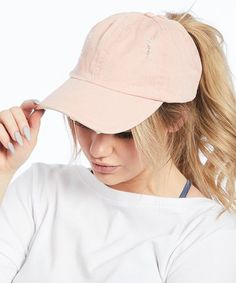 759667a3 Ponyflo by David & Young | Pink Cotton Ponytail Baseball Cap