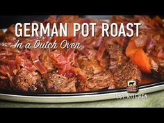 German Pot Roast is a classic meal of oven braised chuck roast and red cabbage. Dark beer, onions, carrots, and German mustard make this recipe rich and hearty. Best Roast Beef Recipe, Roast Beef Recipes, Beef Recipes For Dinner, Entree Recipes, Meat Recipes, Cooking Recipes, Beef Dishes, Food Dishes, Main Dishes