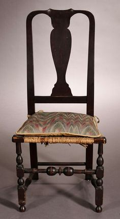 Skinner Auction: 2743T 8/11/14 Lot: 1151.  Estimate $300-500.  Sold for: $338.  Description: Stained Maple Side Chair, New England, last half 18th century, with a yoked cresting and vasiform splat joined by raking stiles, on block-, vase-, and ring-turned legs and bulbous turned front stretcher, old surface, rush needs replacement, (imperfections), ht. 39 3/4, seat ht. 17 in.
