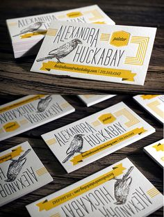 Beautifully Illustrated Two Colour Letterpress Business Card For An Artist