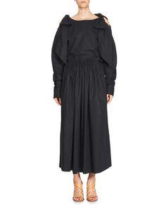 -72AE Chloe  Bow Cold-Shoulder Blouse Gathered-Waist Cotton Maxi Skirt, Dark Blue