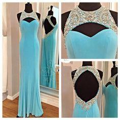 Light Blue Backless Prom Dress 2016 O-neck Sleeveless Beaded Floor Length Chiffon Long Elegant Prom Gowns