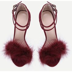 SheIn(sheinside) Single Sole Feather High Heels BURGUNDY (€40) ❤ liked on Polyvore featuring shoes, pumps, burgundy shoes, suede peep toe pumps, d'orsay pumps, mid-heel pumps and stiletto pumps