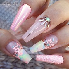Photo by Jet Set Beauty GmbH on August Image may contain: one or more people Summer Acrylic Nails, Best Acrylic Nails, Acrylic Nail Designs, Nail Art Designs, Summer Nails, Pastel Nails, Nails Design, Dope Nails, Bling Nails