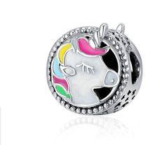 Unicorn Charm, Sterling Silver Charm Bead With Enamel Fits Pandora Charm Bracelet, European Silver Unicorn Jewelry Making, Enamel Charm Charms Pandora, Pandora Jewelry, Unicorn Jewelry, Charm Jewelry, Charm Bracelets, Charm Bead, Diy Jewelry, Handmade Jewelry, Jewelry Making