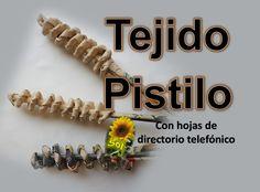Tejido pistilo cestería con papel periódico -  Pistil woven baskets with...