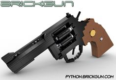 "BrickGun's LEGO® Python .357. Our first revolver model with working Hammer, Trigger, Cylinder which spins and can be opened via a ""fly out"" gate. Details, kits and instructions can be found at http://python.brickgun.com #lego #guns"
