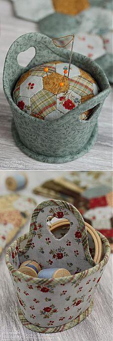 Кадочка-игольница и корзинка для рукоделия. Замечательные поделки из ткани.