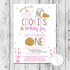 Milk and cookies birthday invitation by Trusner Designs on Etsy