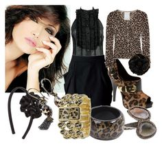 """""""Leopard n Black"""" by muslimgirl ❤ liked on Polyvore featuring Forever 21, Report, Crumpet, Charlotte Russe, ASOS, Truffles Co., Betsey Johnson, Kimberly McDonald, Anna Sui and jewerly"""