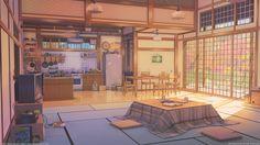 Living room and kitchen, Arseniy Chebynkin on ArtStation at https://www.artstation.com/artwork/NoJB1