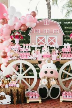 Take a look at this cute pink farm-themed birthday party! The dessert table is stunning!! See more party ideas and share yours at CatchMyParty.com #catchmyparty #partyideas #farm #pinkfarm #farmparty #girlbirthdayparty Farm Animal Birthday, Farm Birthday, Barnyard Party, Farm Party, 2nd Birthday Party For Girl, Birthday Themes For Girls, Birthday Ideas, Birthday Party Decorations, Party Ideas For Girls