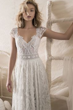 Lace wedding dress,cap sleeve wedding dress