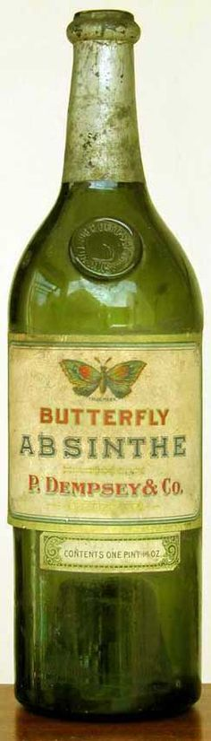 Antique bottle of Butterfly absinthe.