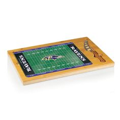Football Fan Shop Picnic Time Icon Glass Top Cutting Board - Baltimore Ravens