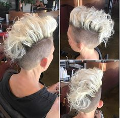 Tutorial to get Women's Platinum Curly Undercut Mohawk Style Pixie Short Hairstyle Pixie Undercut, Undercut Mohawk, Undercut Hairstyles, Pixie Hairstyles, Shaved Hairstyles, Pixie Haircuts, Mohawk Styles, Curly Hair Styles, Cool Short Hairstyles