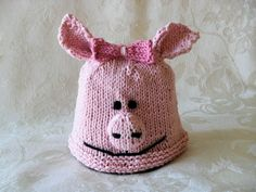 Baby Hat Knitting Knit Baby Hats Piggy Baby Beanie Knit Animal Hat Hand Knitted Pig Baby Beanie Children Clothing Baby Knitted Hat by CottonPickings on Etsy