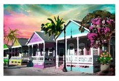 Key West Limited Edition Fine Art Painting Print by V.Ann - Quaint Cottages 13 x 19 Florida via Etsy