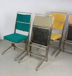 Jean Prouvé; Steel, Nickel amd Plywood Folding Chairs for Tecta, 1924.