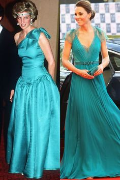 Again, what are the odds of the exact same color?  I still have to give the edge to Catherine's gown.  Diana in Melbourne in October 1985; Kate in Jenny Packham at Royal Albert Hall in May 2012.