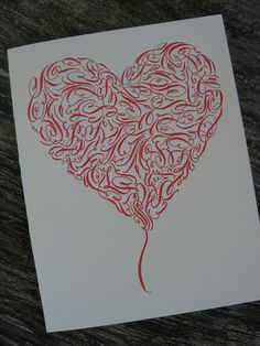 ooooh Jane Farr's Red Calligraphy Flourished Heart Letterpress by APlaceToFlourish, $4.50
