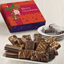 Christmas Sprite 16; Snack-sized gourmet brownies are individually wrapped and packed inside a purple box adorned with bright red Merry Christmas greetings. Eight different brownie flavors.