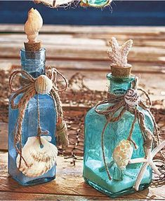 Crafts with Seashells and Bottles 39 Set Of 2 Glass Bottles Seashells Seaside Home Ocean Beach theme Decor Coral Sand 3 bottle crafts beach crafts with seashells and bottles 6 - Viral Decoration Beach Themed Crafts, Beach Crafts, Glass Bottle Crafts, Wine Bottle Art, Wine Bottles, Decorative Glass Bottles, Decoration Evenementielle, Deco Marine, Coastal Decor