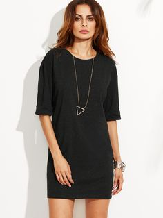 Robe t-shirt couleur unie demi-manche -French SheIn(Sheinside)