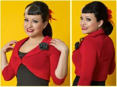 Red Shrug w/Black Rose Daddy O's retro 50s styled clothing and accessories