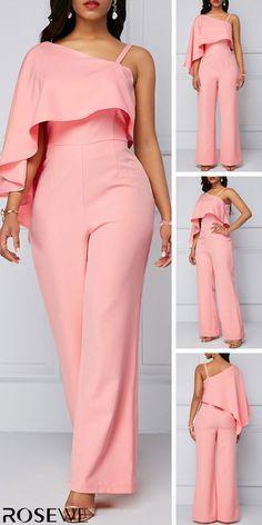 One Shoulder Light Pink Overlay Jumpsuit